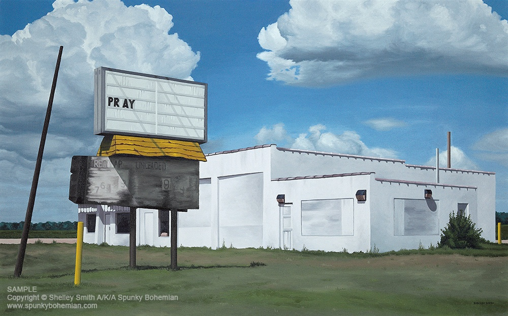 Janesville Wisconsin Gas Station Pray Art Prints & Original Paintings