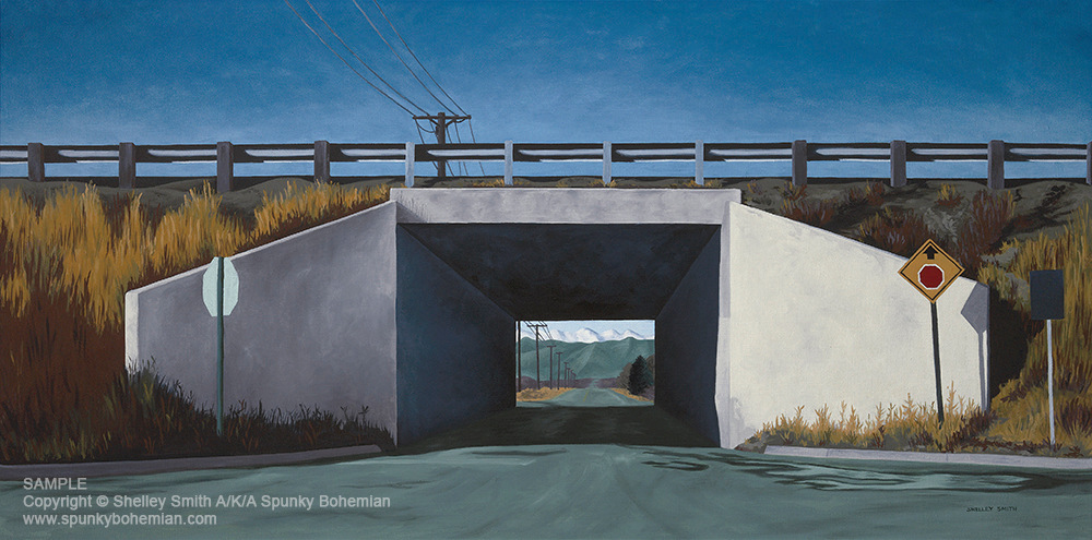 Colorado   Sunlit Old Underpass Tunnel   Desolate Landscape with Mountains