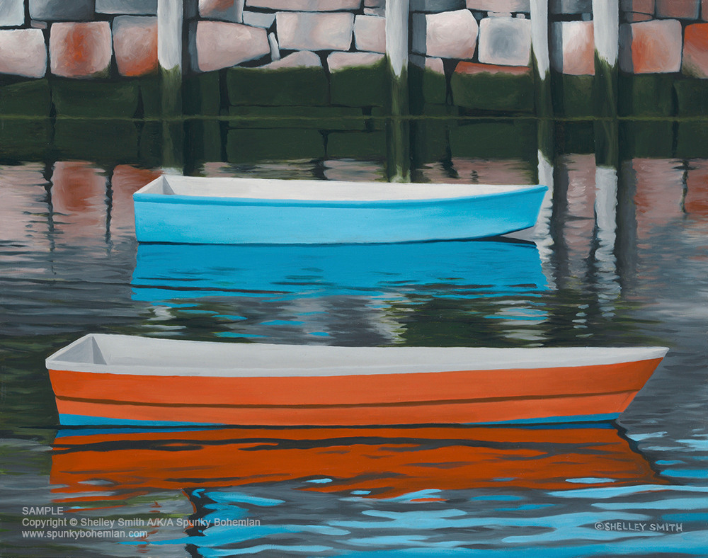 Orange & Blue Dinghies with Reflections   Art Prints & Paintings
