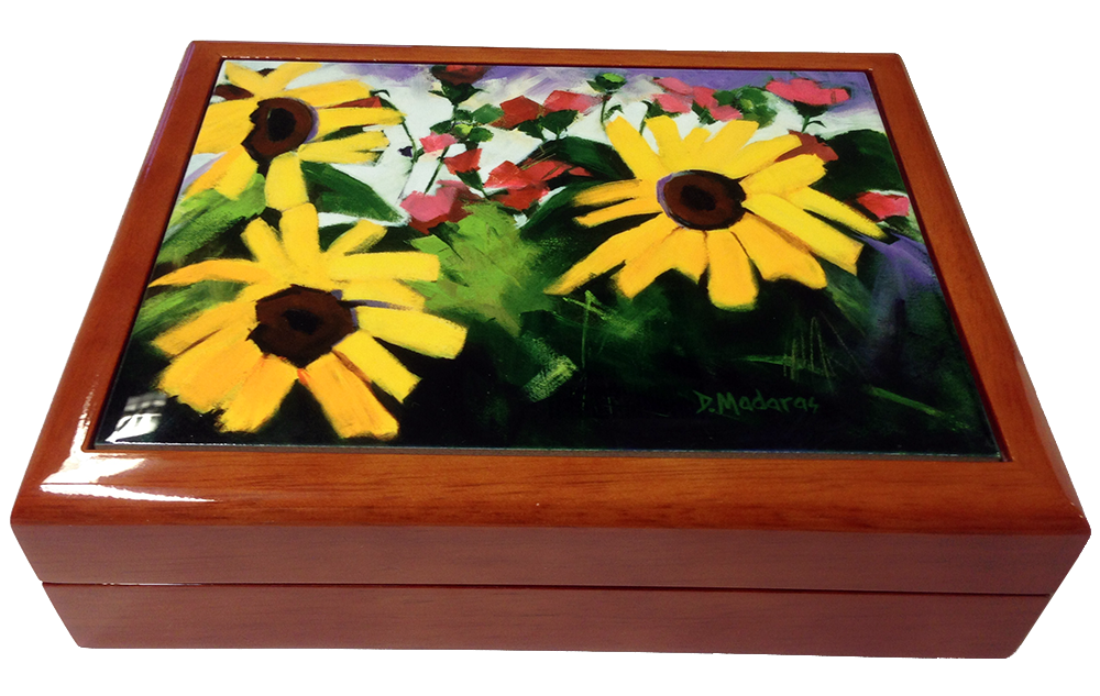 Three Sunflowers Wooden Keepsake Box