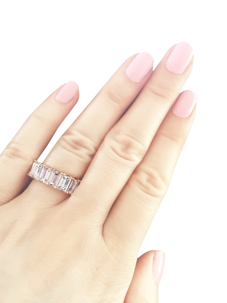 18-KGP Rose Gold 4-Prong Emerald Cut Eternity Ring Band Jewelry
