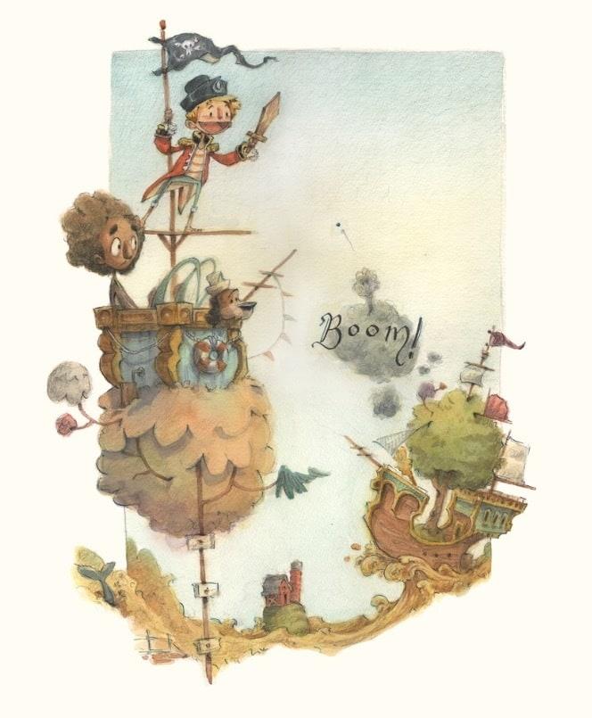 The-Prairie-Pirates-Original-Watercolor-Painting-James-Serafino-wfn1zb
