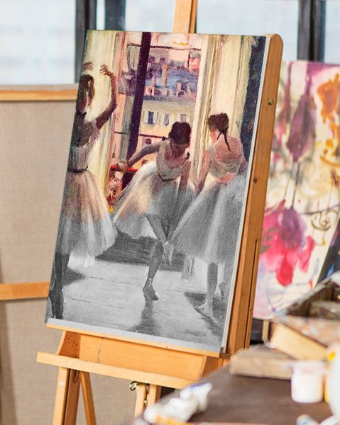 Three-dancers-in-a-practice-room-by-Degas-on-panel-hfpnjk