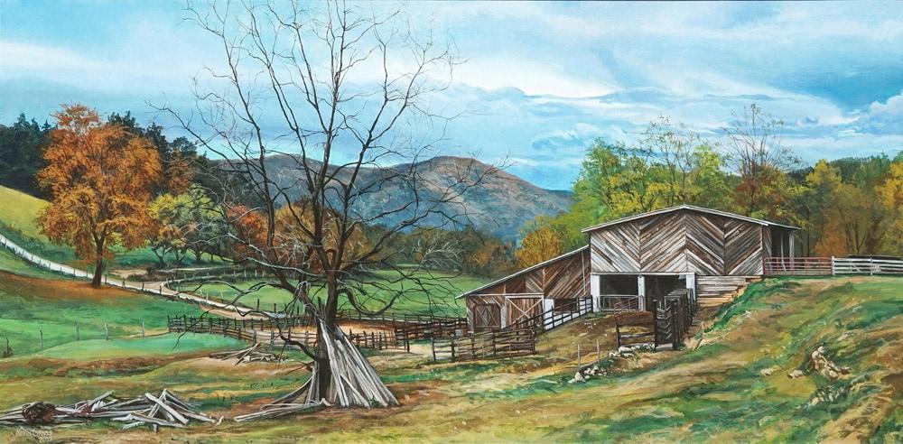 Kevin-Grass-Appalachian-Farm-Acrylic-on-canvas-painting-yrqaml