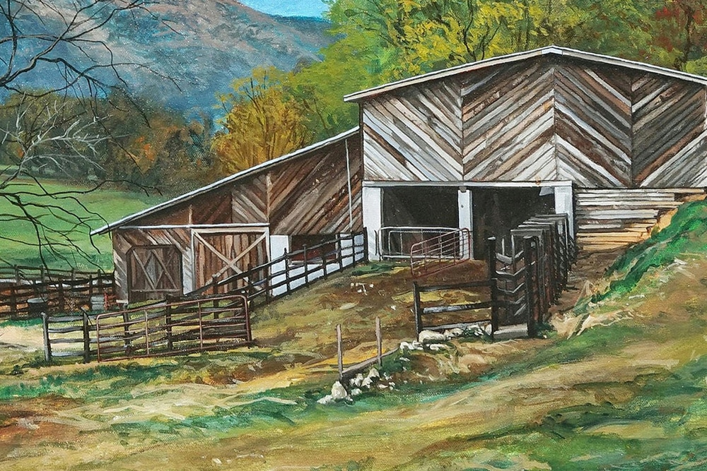 Kevin-Grass-Appalachian-Farm-detail-Acrylic-on-canvas-painting-rah5bk