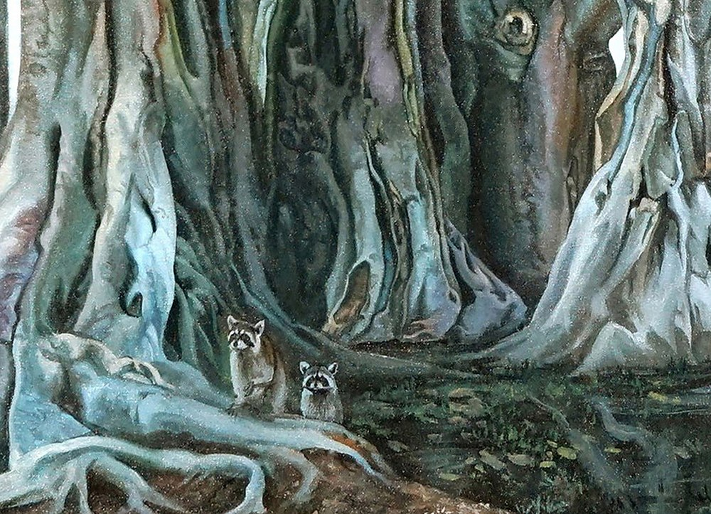 Kevin-Grass-Banyan-Tree-detail-Acrylic-on-canvas-painting-jyodba