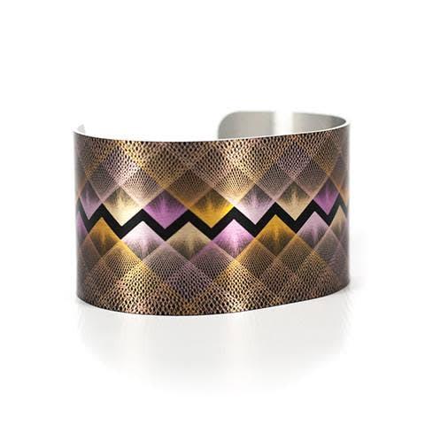 Caroline Geys Amethyst Gold Vortex cuff