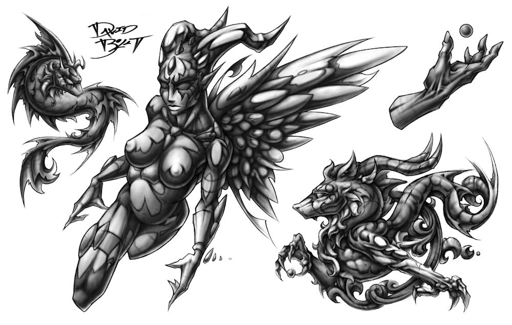 Devil or Angel - Tattoo flash designs set 9 by David Bollt