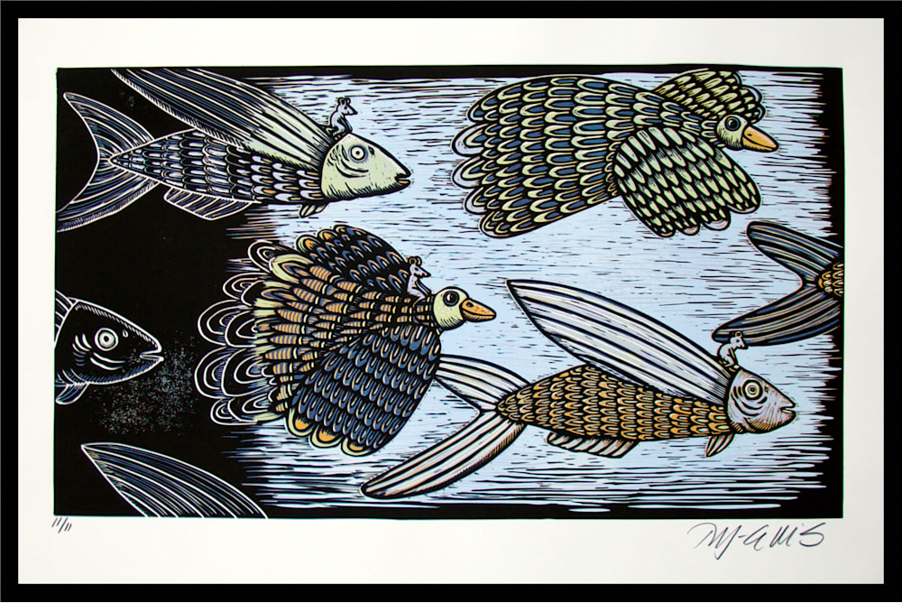 Feather and fin 110f11 framed