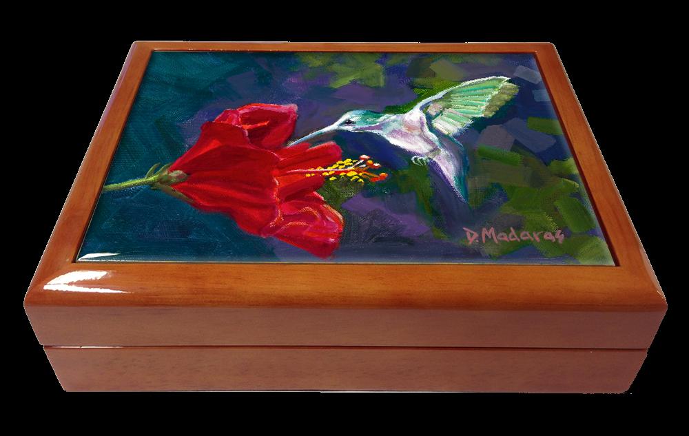 Hummingbird & the Hibiscus Wooden Box