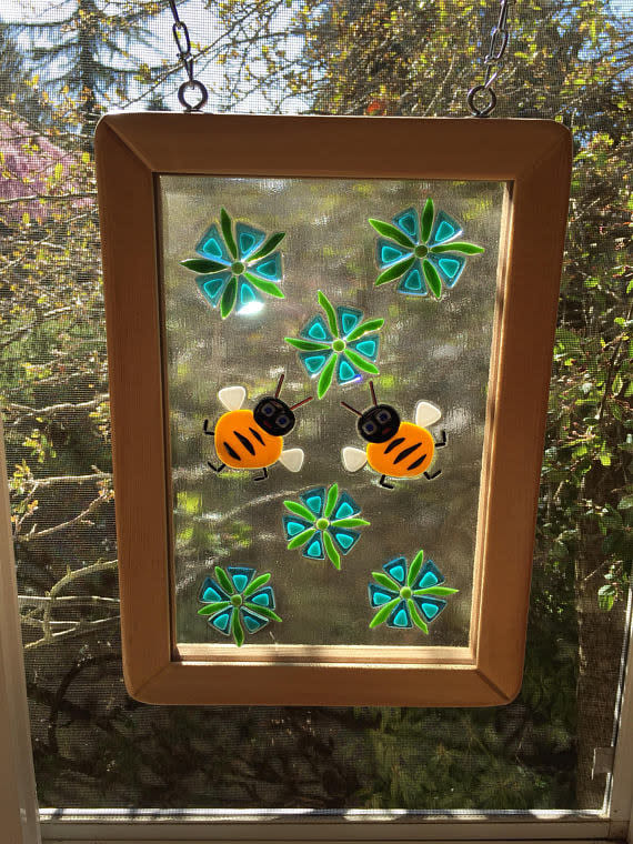 Fused glass window   Bees