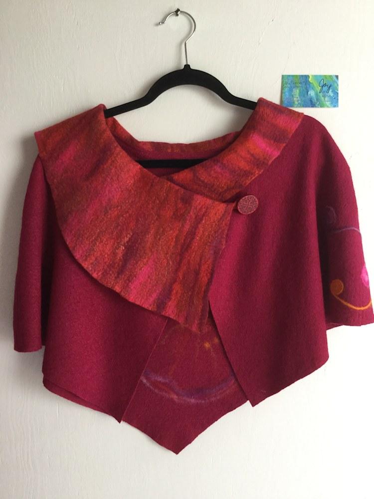Capelet Red Felt Art Front
