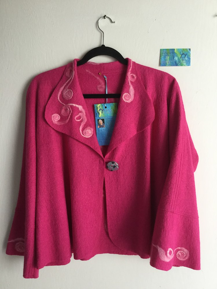Deep Rose Felt Art Jacket front