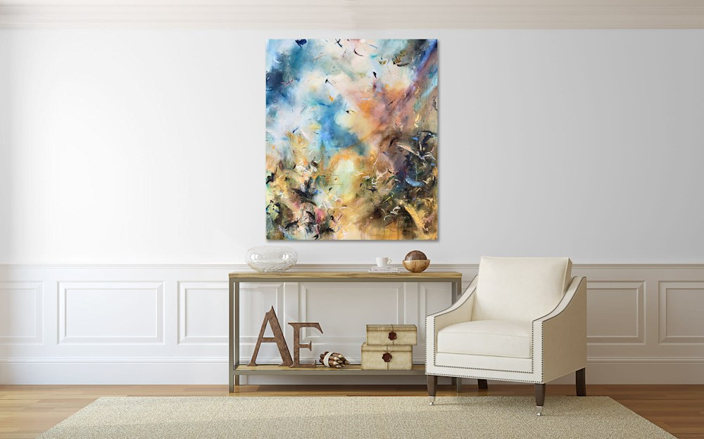 abstract painting in living room