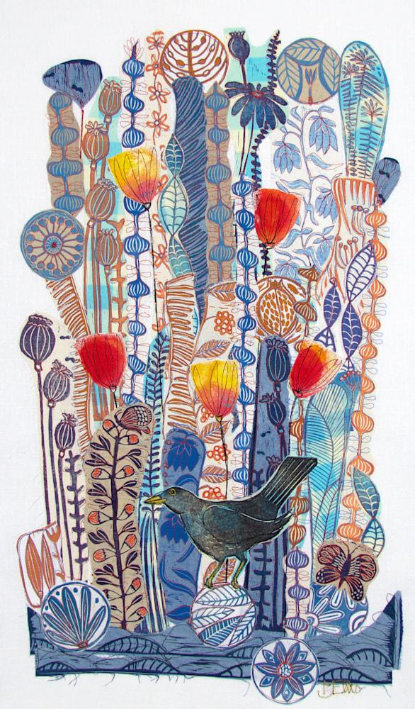 collage lino blackbird