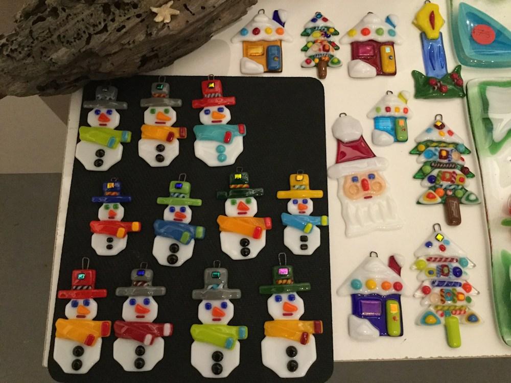 Fused Glass Christmas Ornament Snowmen