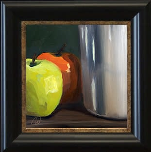 Apples and Pottery by Paul William in frame