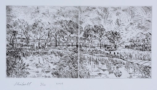 My Day In The Country drypoint etching