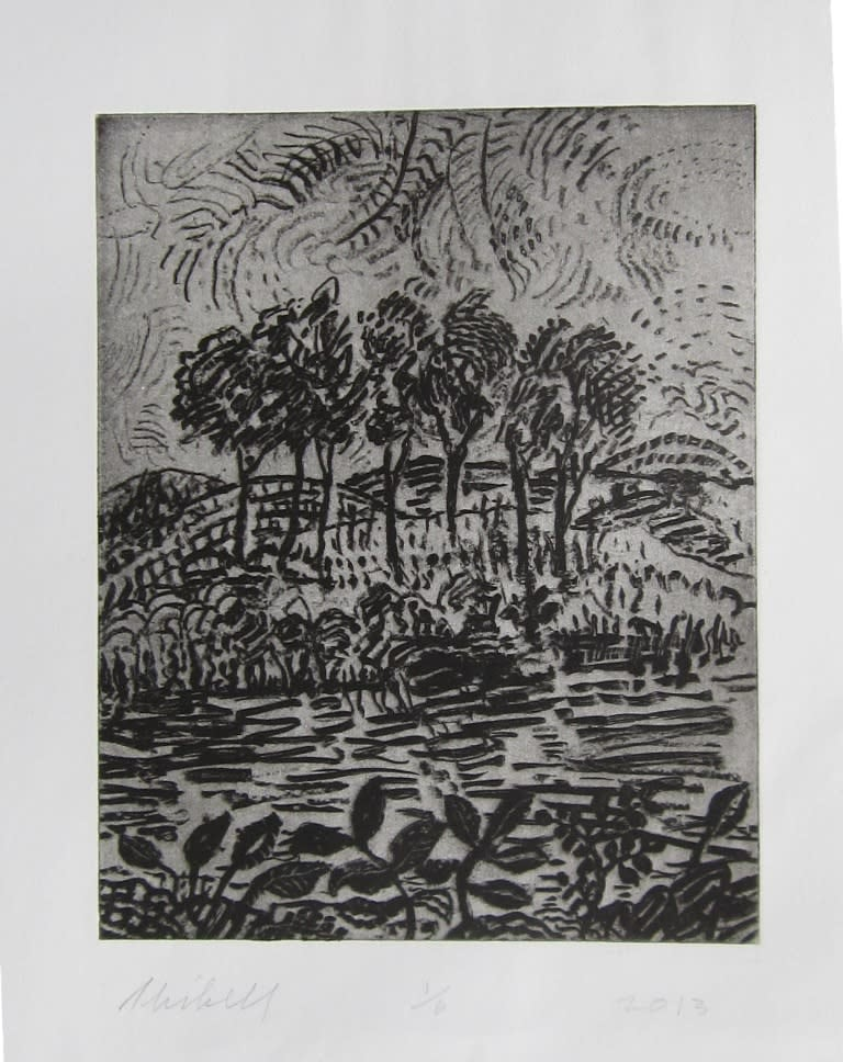 Jerry Skibell, Across the Stream, intaglio etching, 9x7 in