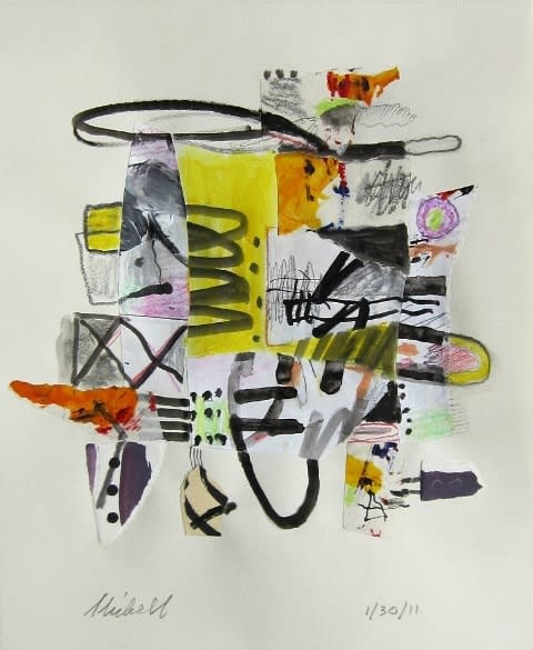 Jerry Skibell, Yellow Core, collage drawing, 14x11 in