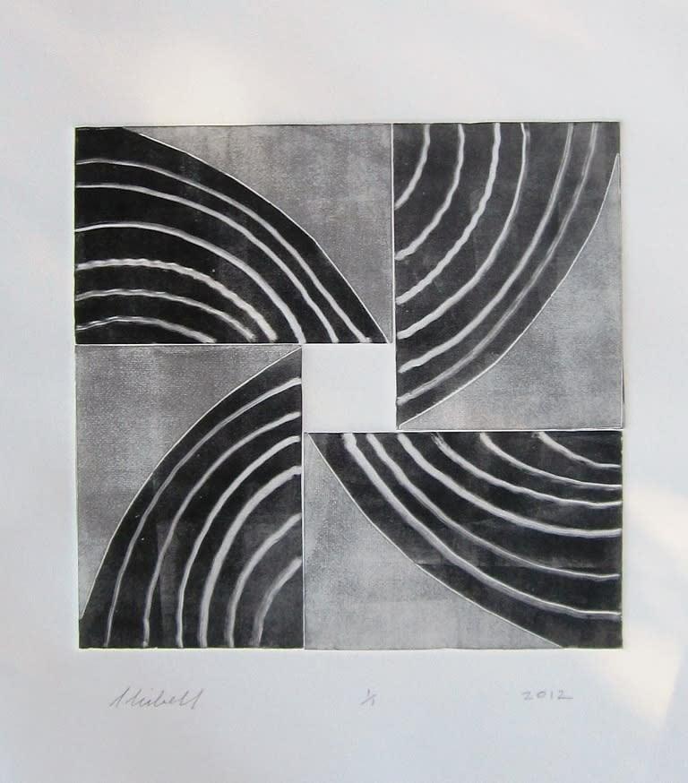 Jerry Skibell, Pinwheel Series, Wide Fan 1, monoprint, 13x13 in