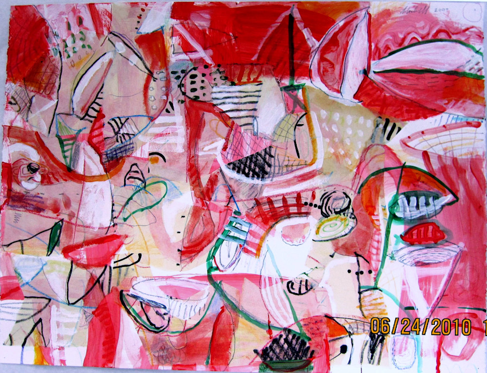 Jerry Skibell, Red Planet Party, Collage painting on paper