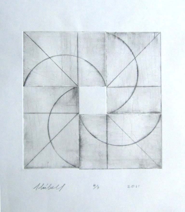 Jerry Skibell, Rotor, dry point etching, 10x10 in