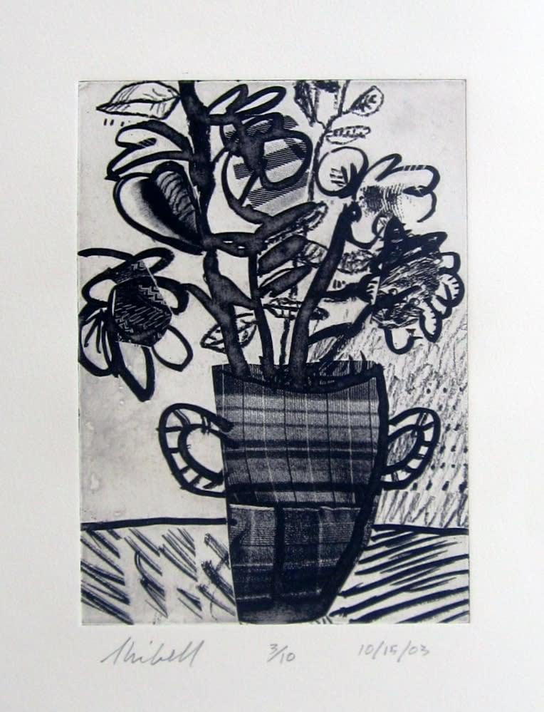 Jerry Skibell, Killer Potted Plant 2, solar plate intaglio etching, 10x7 in