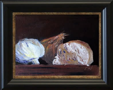 Garlic Shallot and Bread by paul william framed