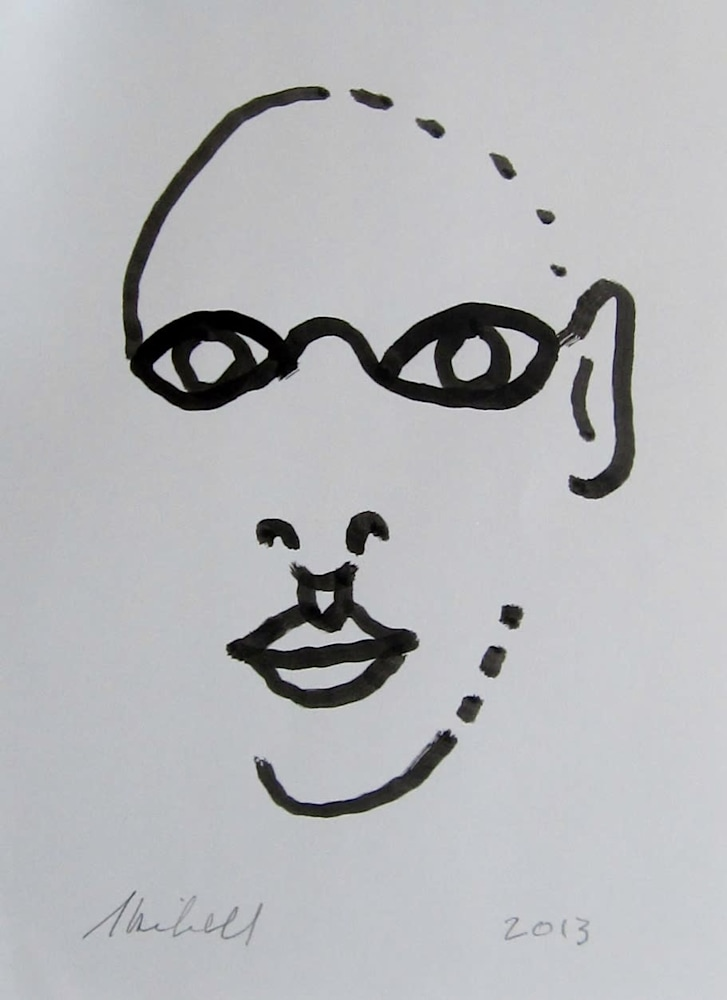 Face Pieces ink drawing