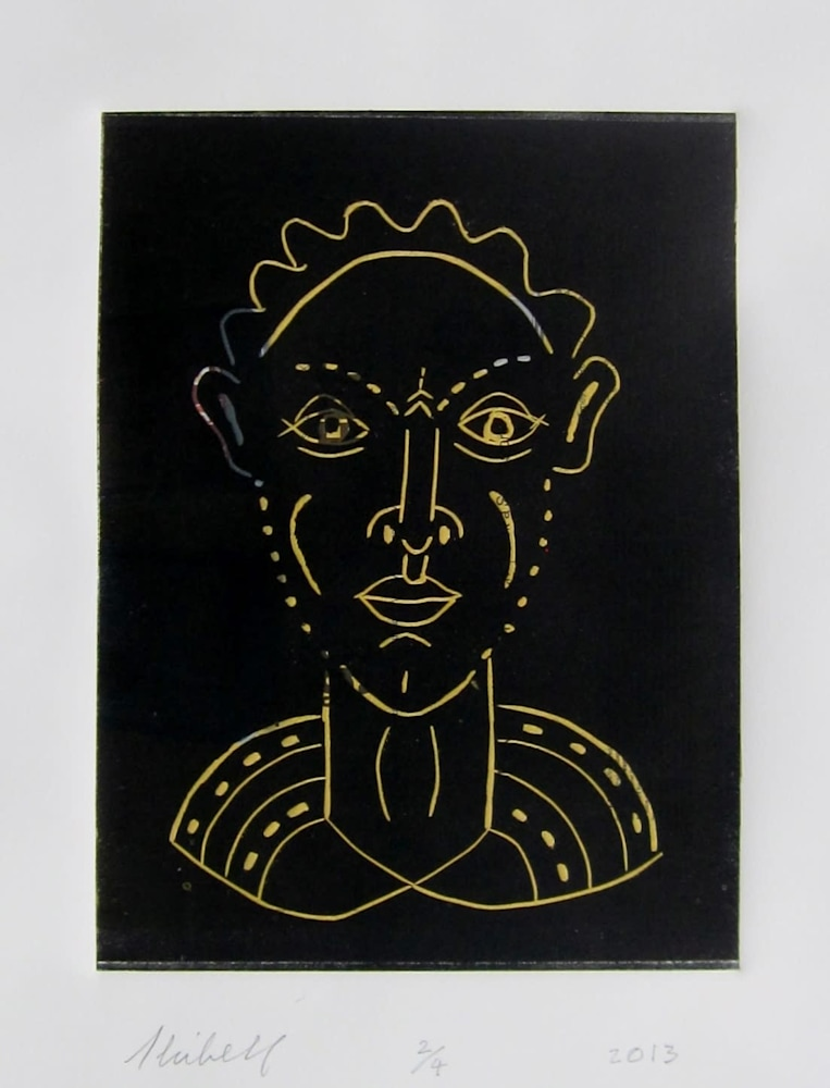 Heres Looking at You linocut, Faces