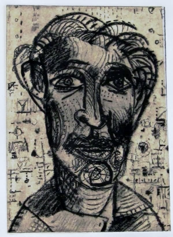 Face # 553, 7X5 inches, solar plate intaglio etching, 2009, Jerry Skibell
