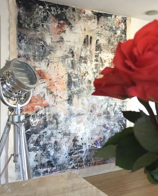 Making Time with roses in foreground   Lesley Koenig