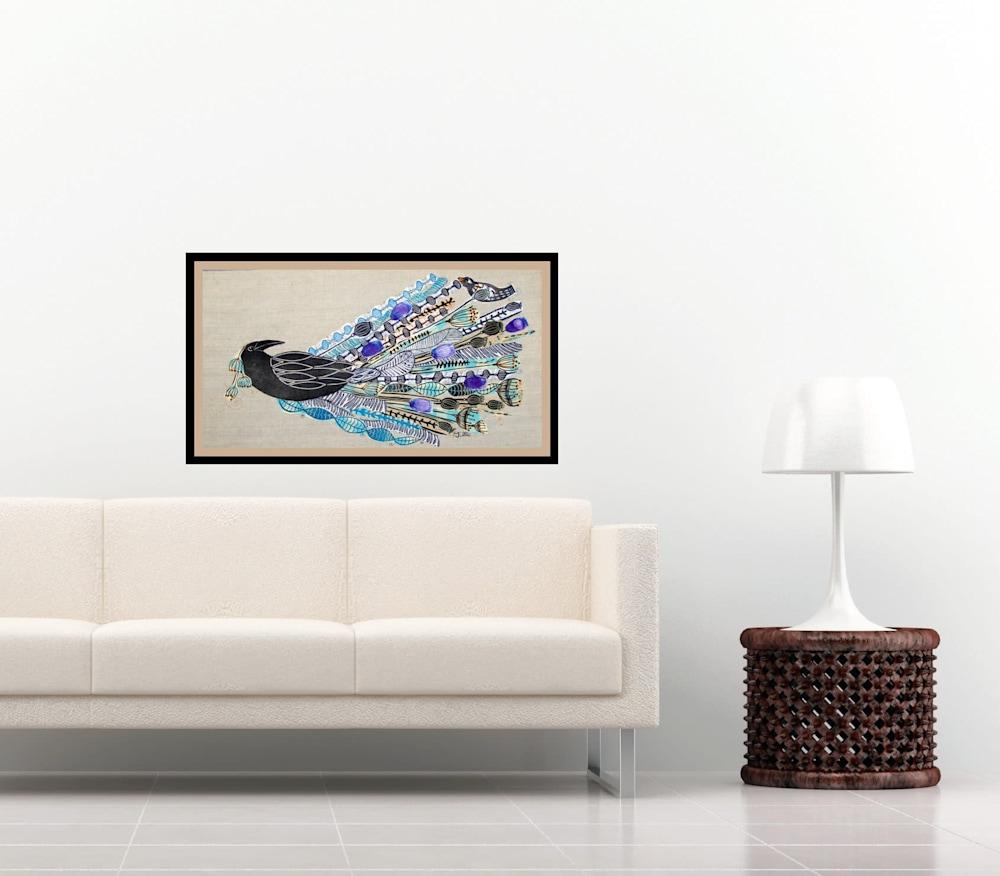 lino collage raven interior