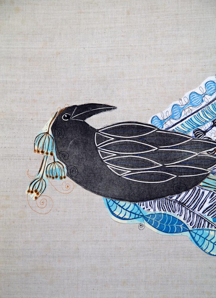 lino collage ravens wedding raven