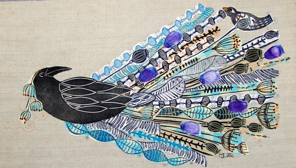 linocut collage Ravens wedding