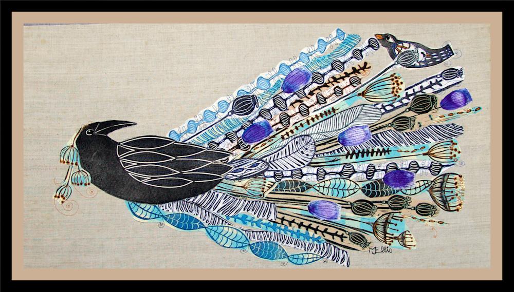 linocut collage Ravens wedding framed