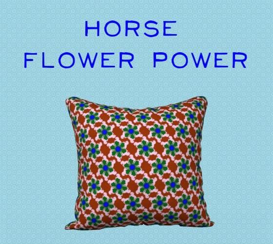 Horse Flower Power Pillow