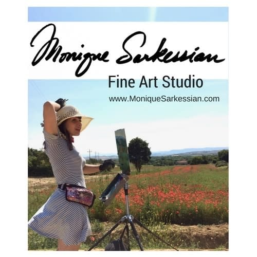 Monique Sarkessian Fine Art Studio Tuscany sign logo