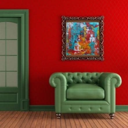 Cinco de Mayo staged Sq red room green chair Lesley Koenig