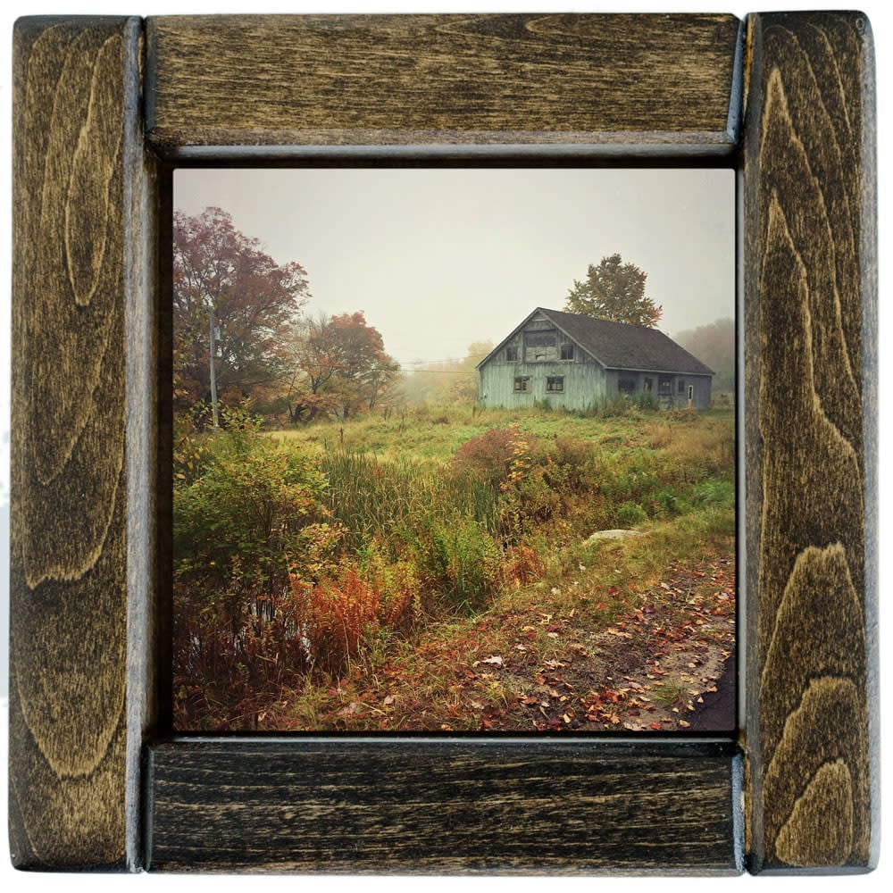 Autumn Red Hill Barn Framed