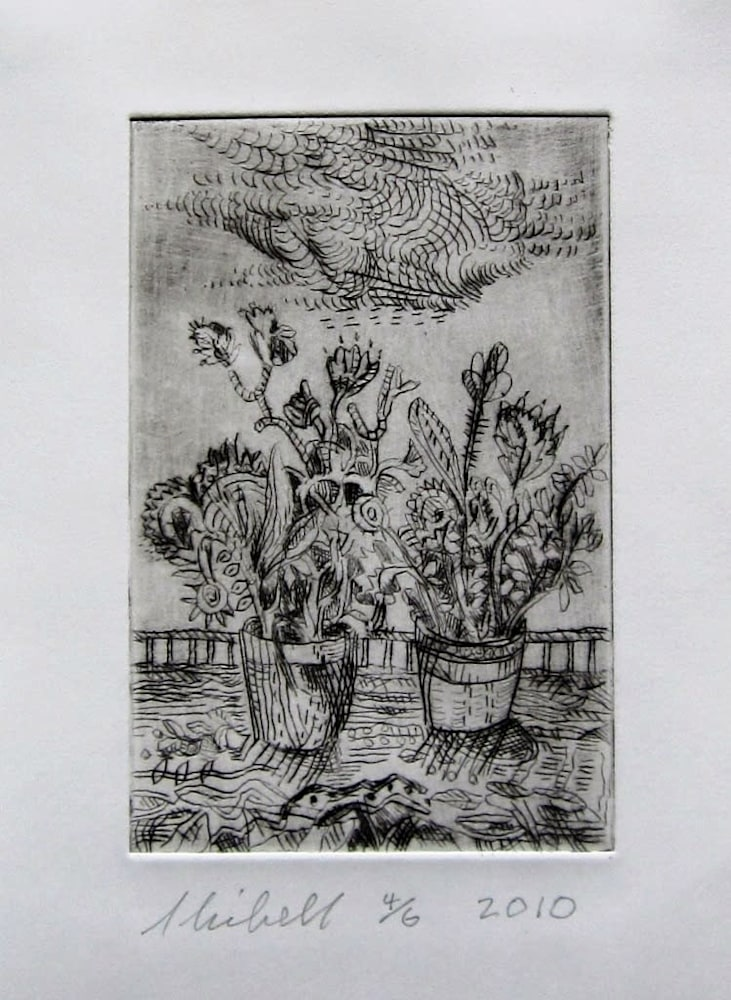 Jerry Skibell, Fighting Flower Pots, dry point etching, 6x4 in