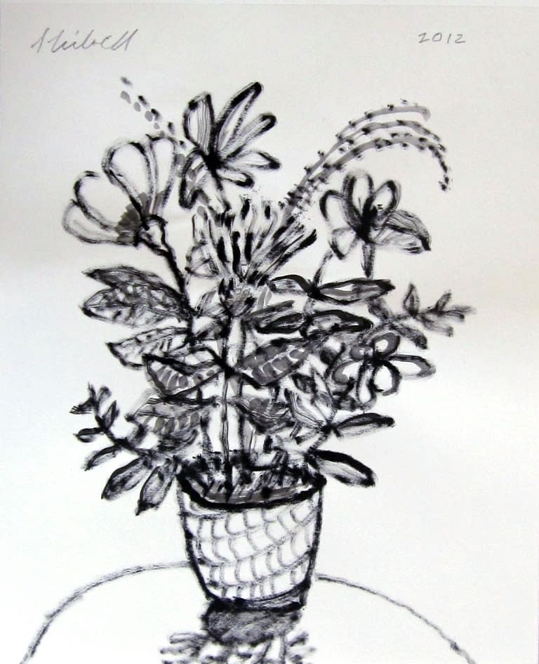 Jerry Skibell, Flower in a Vase, ink drawing, 14 x11 in