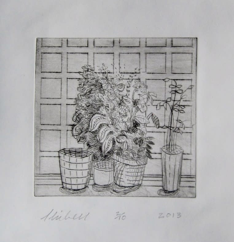 Jerry Skibell, Plants and Empty Pots Against Square Wallpaper, dry point etching, 6x6