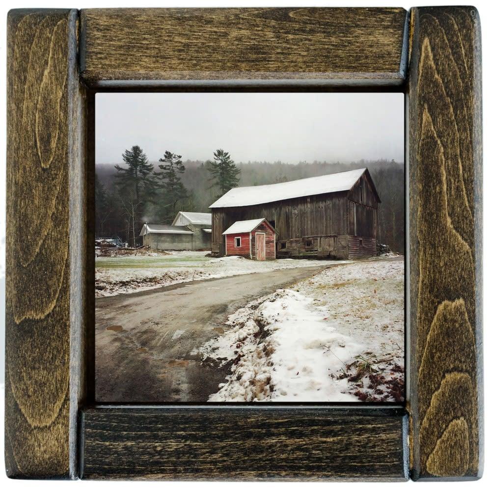 Sundown Barns in Winter Framed