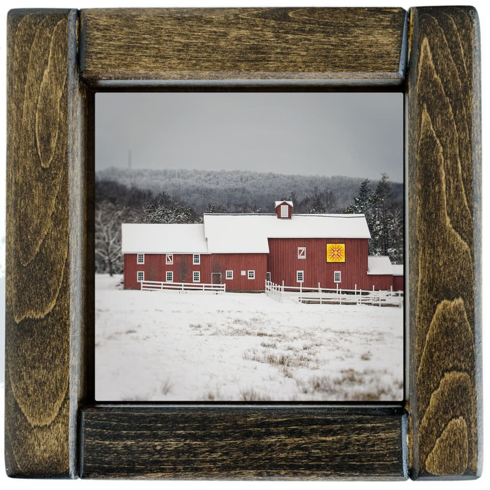 Red Barn Quilt Barn in Winter Framed