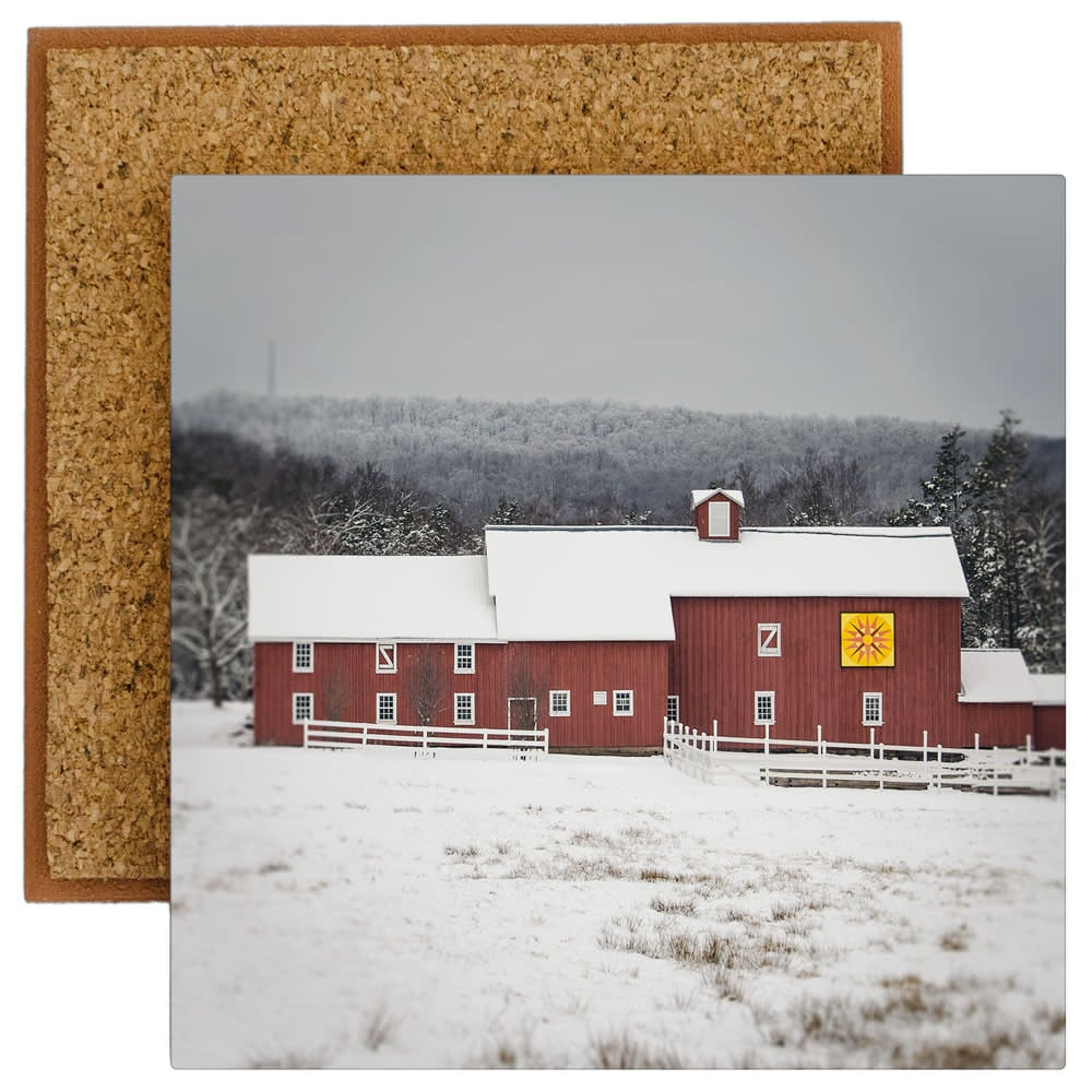 Red Barn Quilt Barn in Winter photo tile