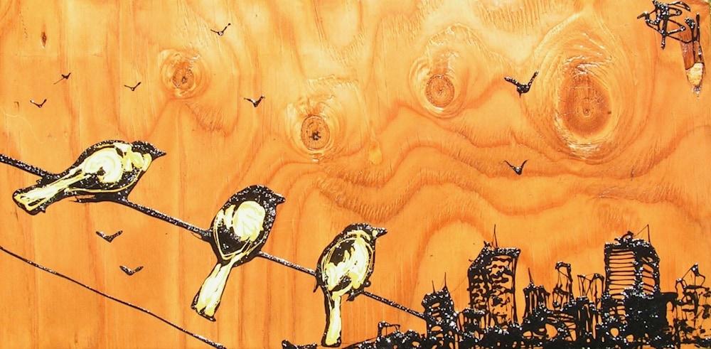 12x24 City Birds Yellow