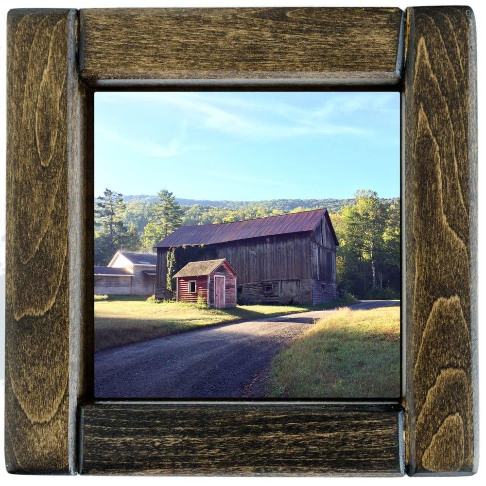 Sundown Barns in Summer Photo Tile - Framed