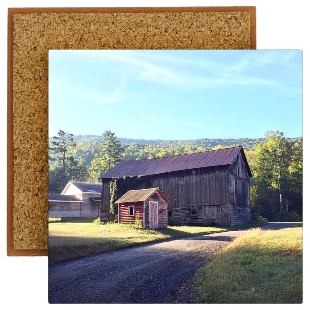 Weathered pair of barns in Catskill summer morning light imprinted on ceramic tile